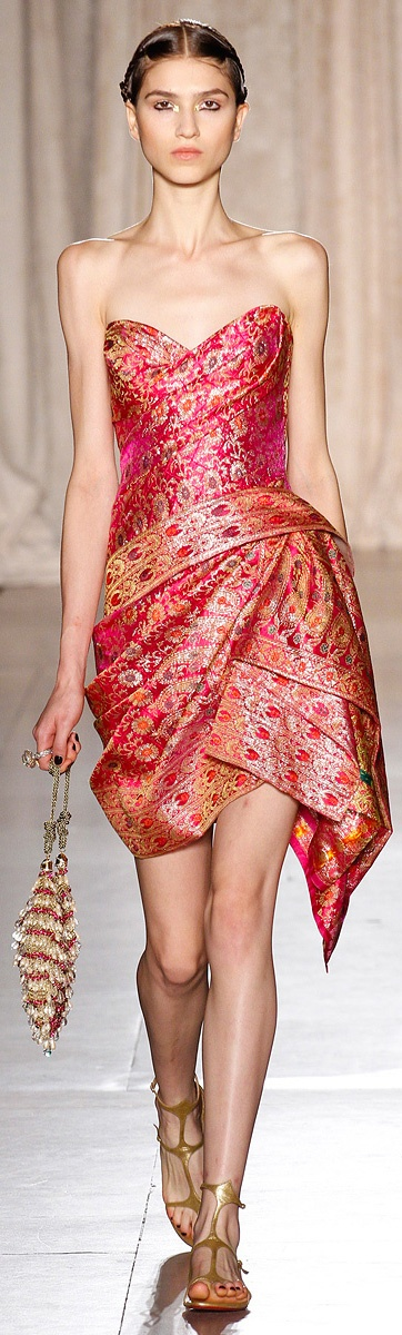 Saree cocktail dress Marchesa SS RTW 2013 http://www.vogue.com/collections/spring-2013-rtw/marchesa/runway/
