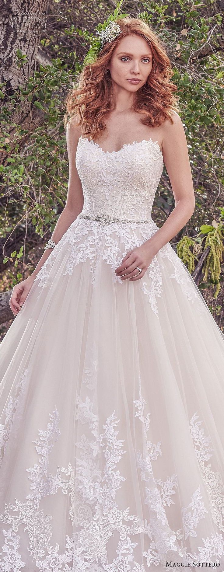maggie sottero fall 2017 bridal strapless sweetheart neckline heavily embellished bodice romantic blush color a line wedding dress chapel train (933) lv