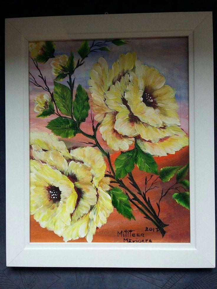 Trandafiri(30€) Tablou pictat pe panza Dimensiuni 35/30cm Disponibil