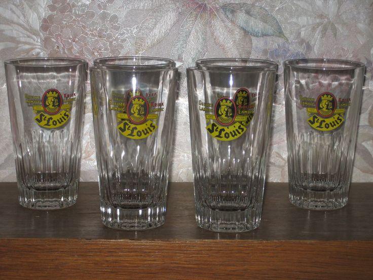6 verres à bière St Louis gueuze lambic kriek, cave Kelder
