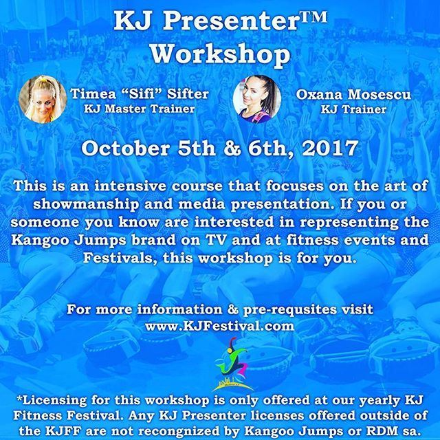 Join #KangooJumps at our annual #KJPresenter workshop in #Madrid October 5 & 6, 2017. Hosted by Kangoo Jumps Master Trainer @timeasifter & #KJTrainer @OxanaMosescu. For more information visit our KJFestival.com page or email KJTraining@KangooJumps.com ...