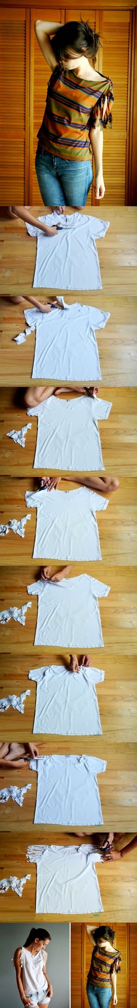 Do you have some old tees that are sitting in your wardrobe for a long time? Here's a super easy DIY project to refashion your basic tee i...