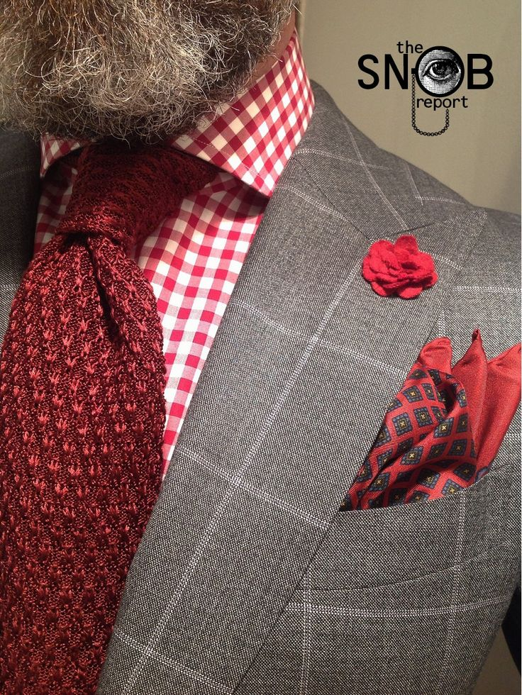 WIW grey windowpane suit by Suitsupply, MTM gingham check shirt Van Laack for Lowet Tailors, knit tie Tom Ford, pocket-square by Polo Ralph Lauren & boutonnière hook + ALBERT