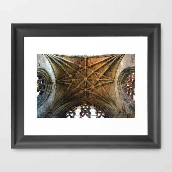 """FRAMED FINE ART PRINT/ BLACK MINI (12"""" X 10"""") Scottish Rose Scotland cathedral gothic architecture magic geometric abstract photography  by LaCatrina.it"""