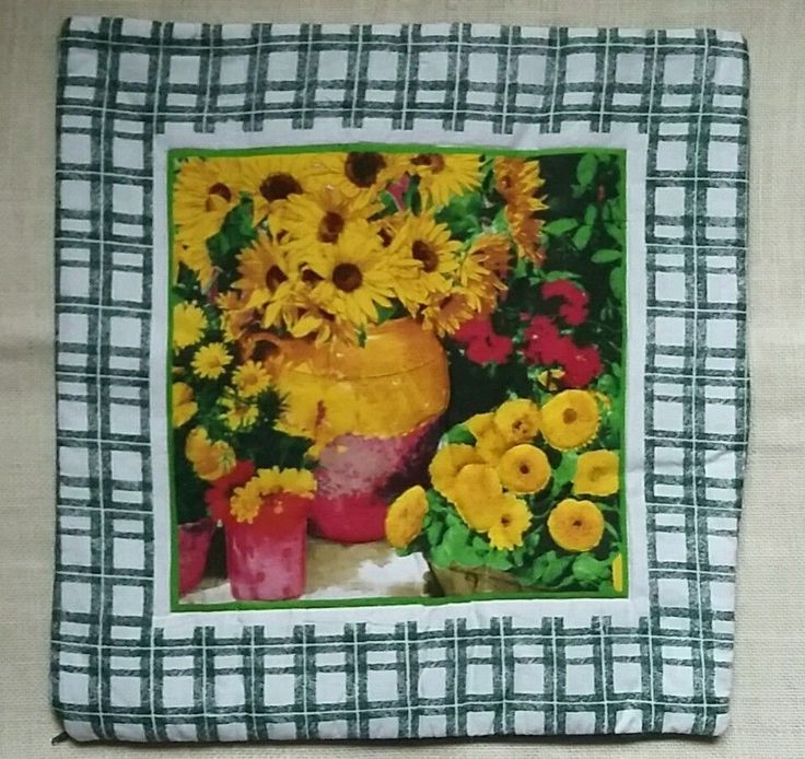 Pair of vintage style cushion covers sunflower yellow green zip fastening in Home, Furniture & DIY, Home Decor, Cushions | eBay!