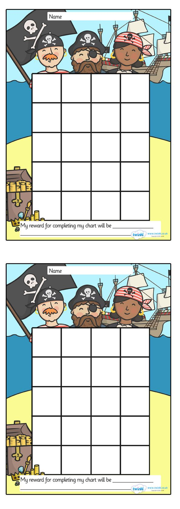 Twinkl Resources >> Pirate Sticker Stamp Reward Chart >> Thousands of printable primary teaching resources for EYFS, KS1, KS2 and beyond! pirate themed, sticker, stamp, reward chart, editable, charts, award, well done, achievement, progress