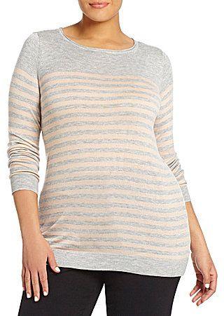 Vince Camuto Plus Stripe-Blocked Sweater on shopstyle.com.au