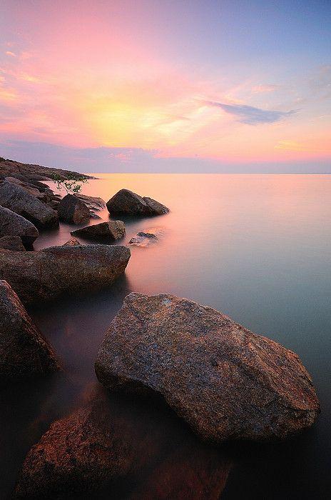 Sunset at Pantai Minyak Baku, Batu Pahat, Johor_ Malaysia