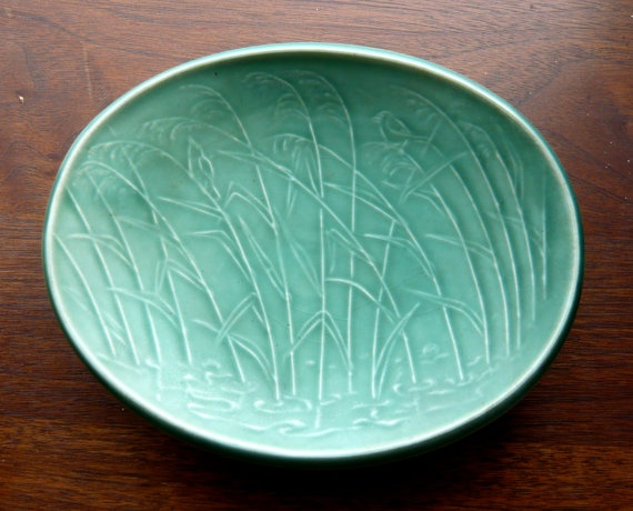 Eslau of Denmark Matte Green Shallow Oval by LagoonVintage on Etsy, $44.00