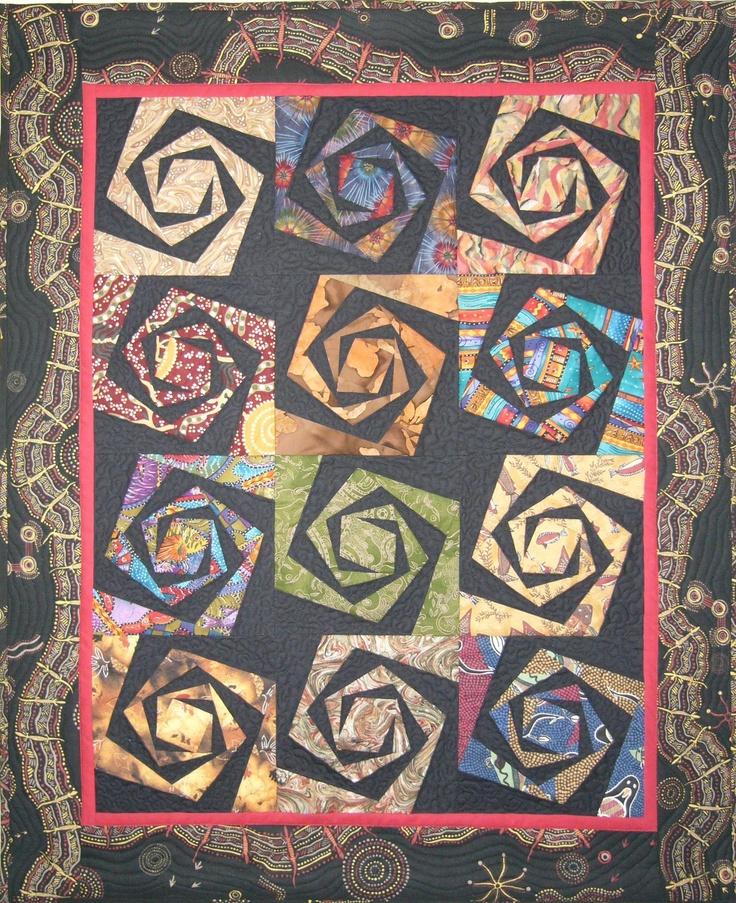 Spiral With A Twist Using Aboriginal Design Fabric