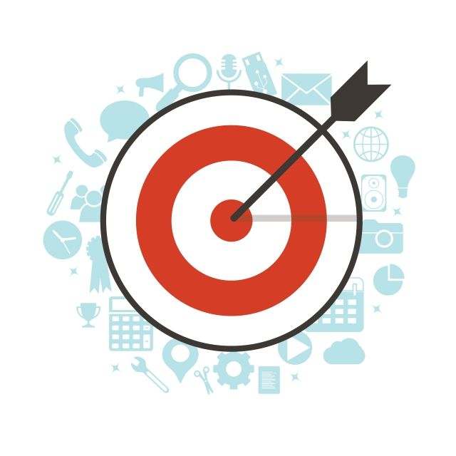 Flat Illustration Of Targeting And Management With Icons Karaoke