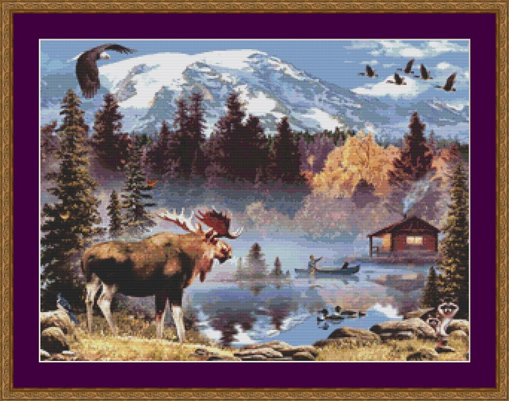 counted cross stitch wildlife patterns | Moose Pond Counted Cross Stitch Pattern by PurpleStitching
