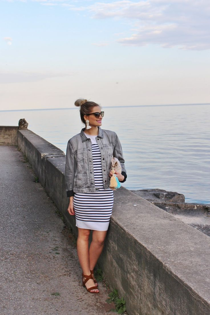 Bijuleni- What to Wear for a night out in a Greek Island. Marc Cain Striped dress and faded jean jacket
