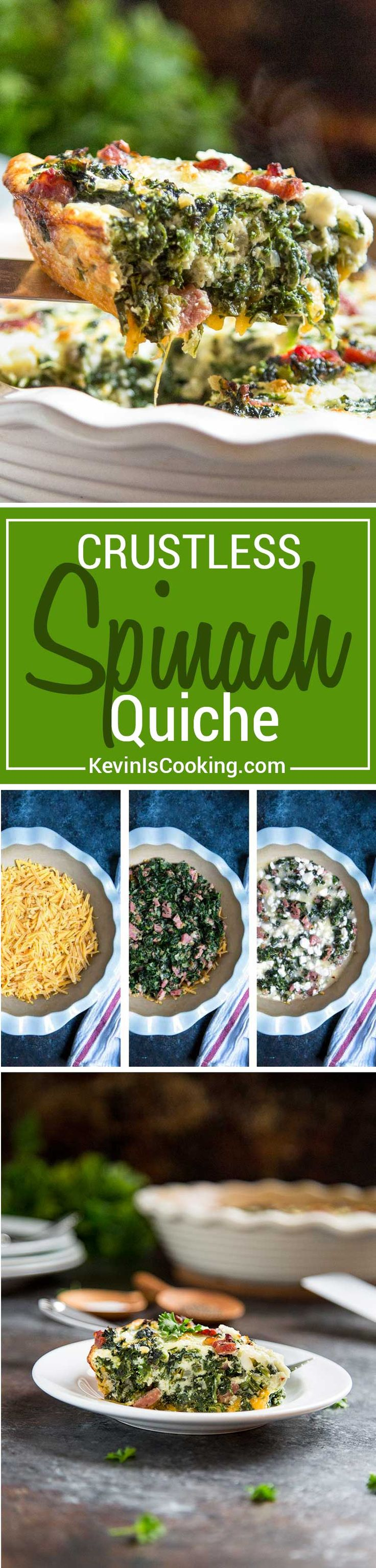 Perfect for the holiday breakfast table! A healthy alternate to atraditional quiche with crust, this Crustless Spinach Quiche with Ham is packed with spinach, cheeses and ham for that lighter breakfast touch. via @keviniscooking