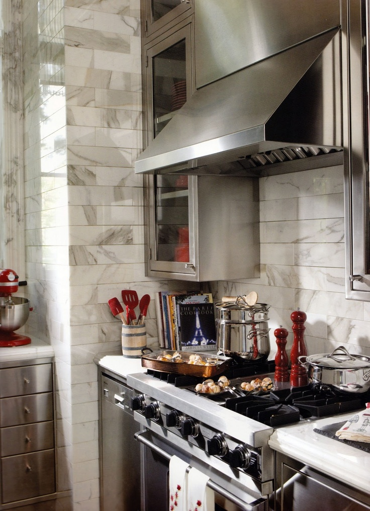 French Catering Kitchen :: view 2 of 3: Decor, Kitchens, Interior, Red, Marble Tiles, Dream House, Apartment, Design