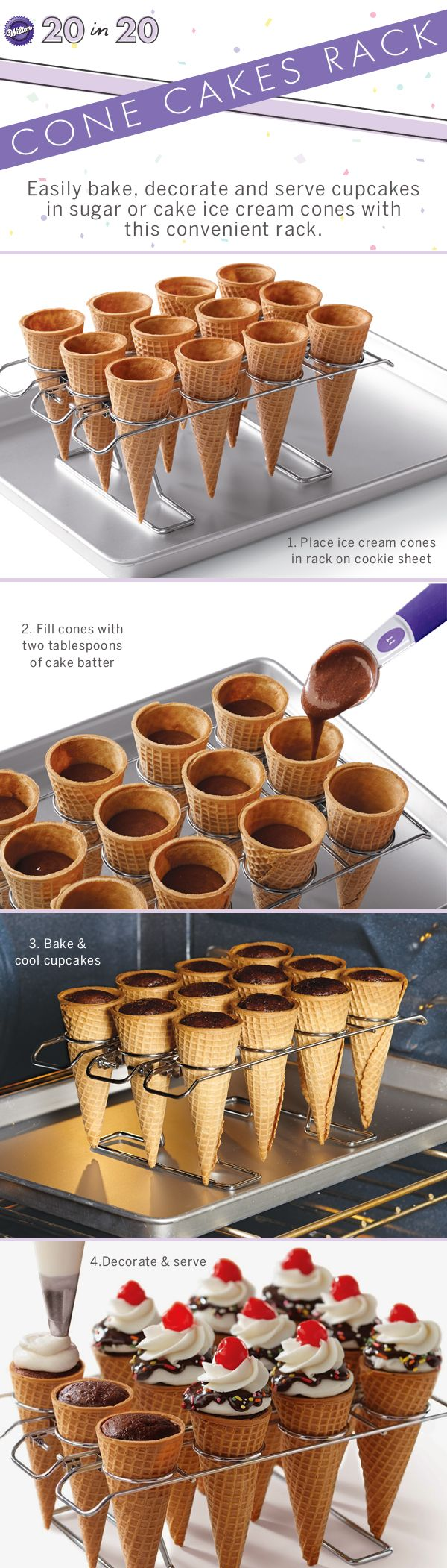 Make cone cupcakes easily with this baking rack!