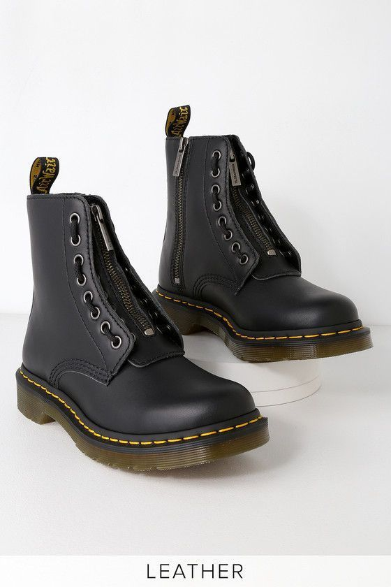 d4caf7a5a93f4 1460 PASCAL BLACK NAPPA LEATHER FRONT ZIP BOOTS DR. MARTENS