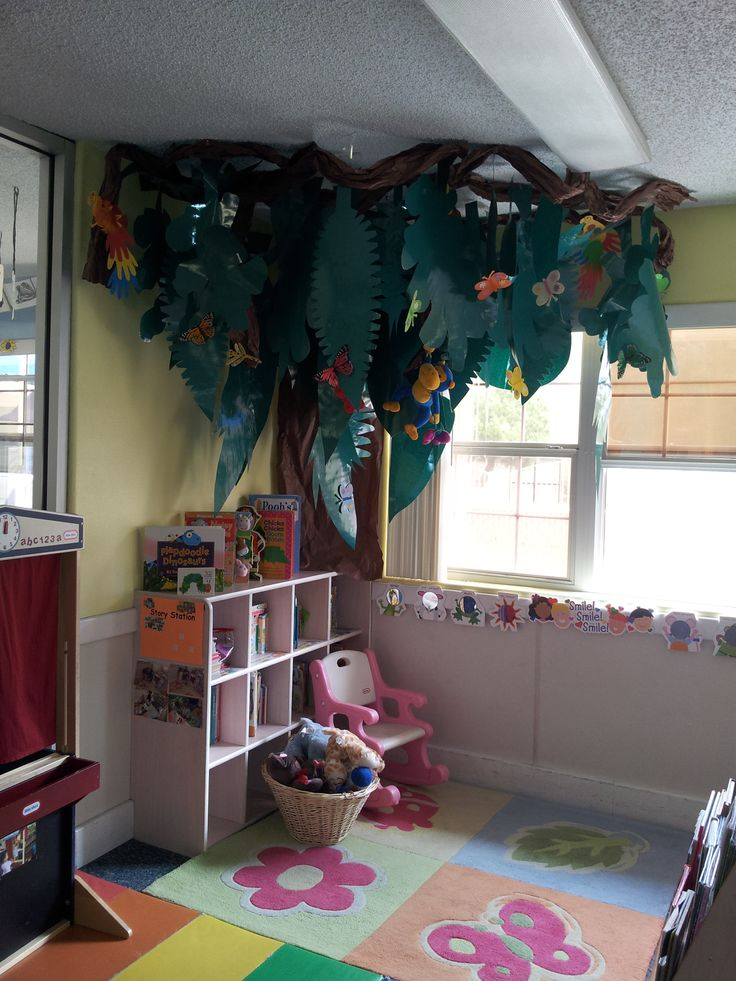 Classroom Wall Decorations ~ Rainforest reading corner preschool classroom
