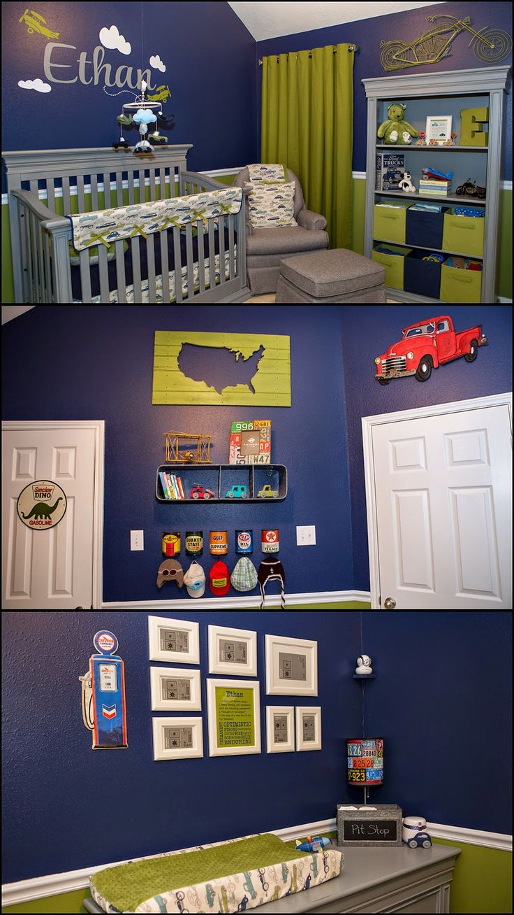 Ethan's Transportation Nursery / kids room Green, Blue, gray, Vintage Cars, boy #jarcarfam #carolineiris