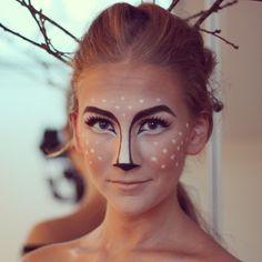 """FIRST PICK- Makeup for Deer costume: darken shading slightly, add ears to stick antlers, add detailing on shoulders"""
