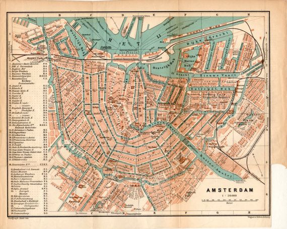 1897 Amsterdam Netherlands Antique Map Vintage by Craftissimo