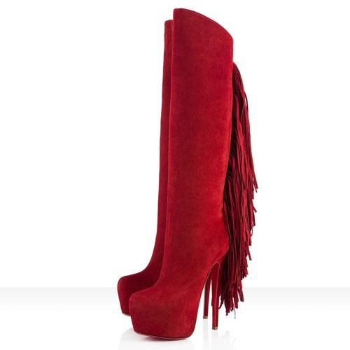 Femme Christian Louboutin Bottes in Moroccan Rouge,chaussures hommes pas cher