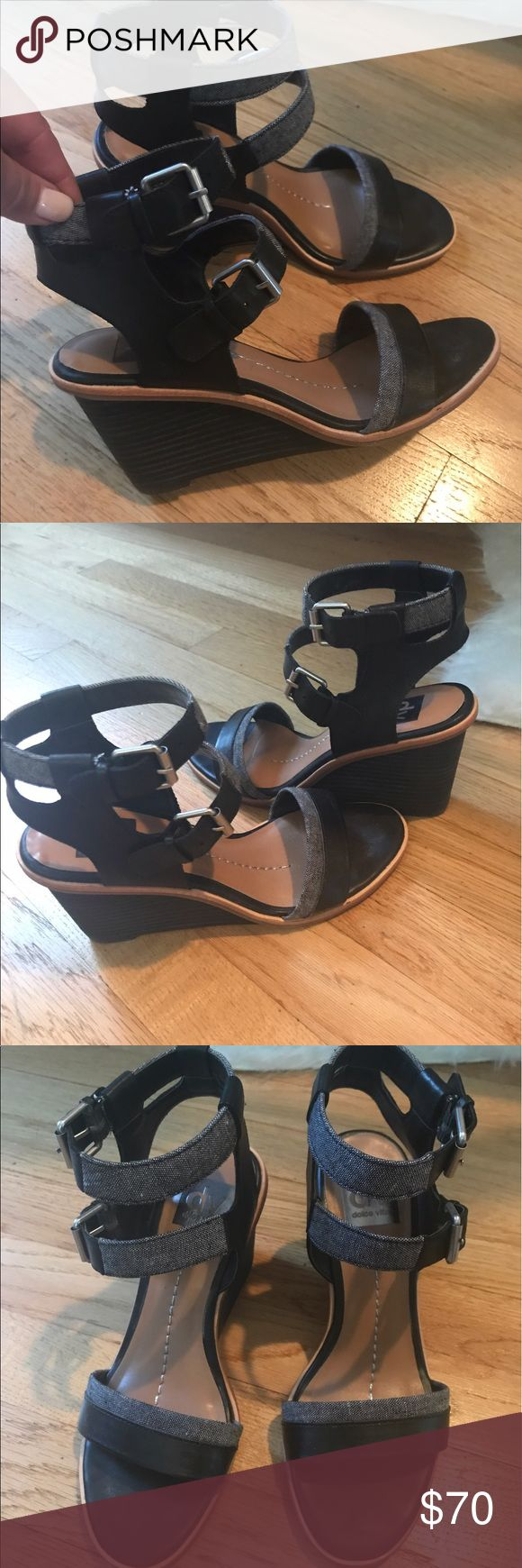 DV dolce vita sandals, size 7.5 Euc, worn twice, black leather with little strips grey jeans DV by Dolce Vita Shoes Sandals