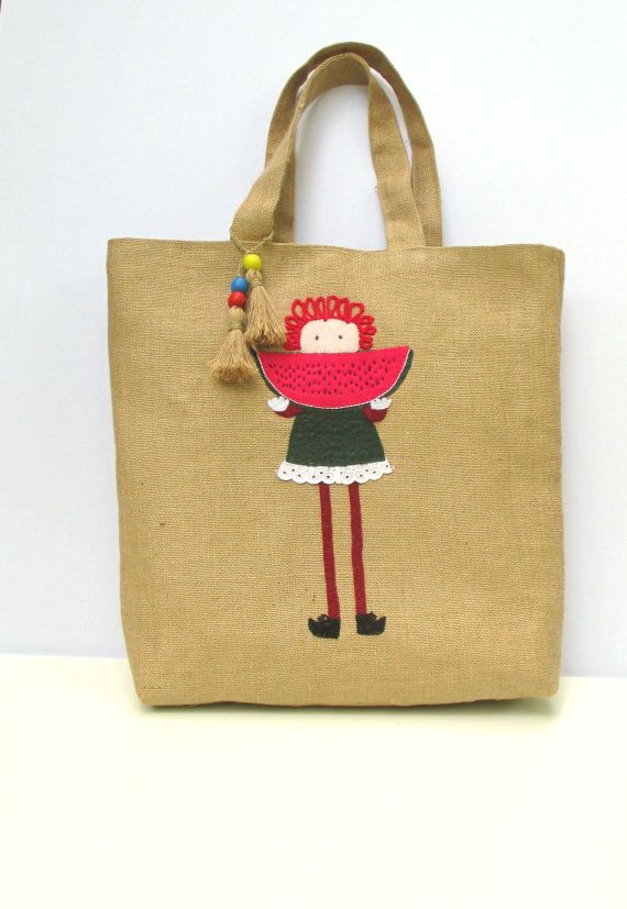 Summer jute tote handmade with a girl eating watermelon by Apopsis