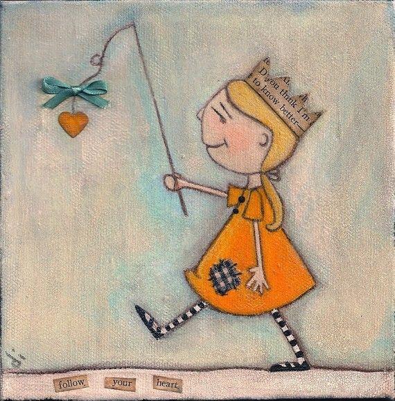 Print of my original mixed media painting - Follow Your Heart