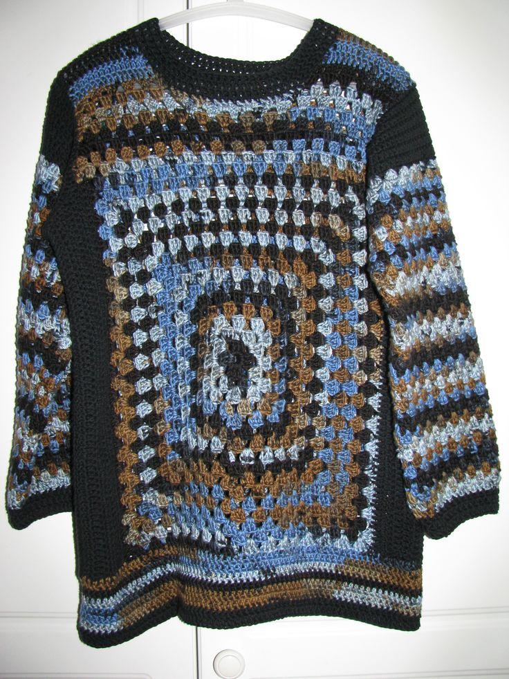 Crochet granny square sweater, yarn Novita Puro Batik.