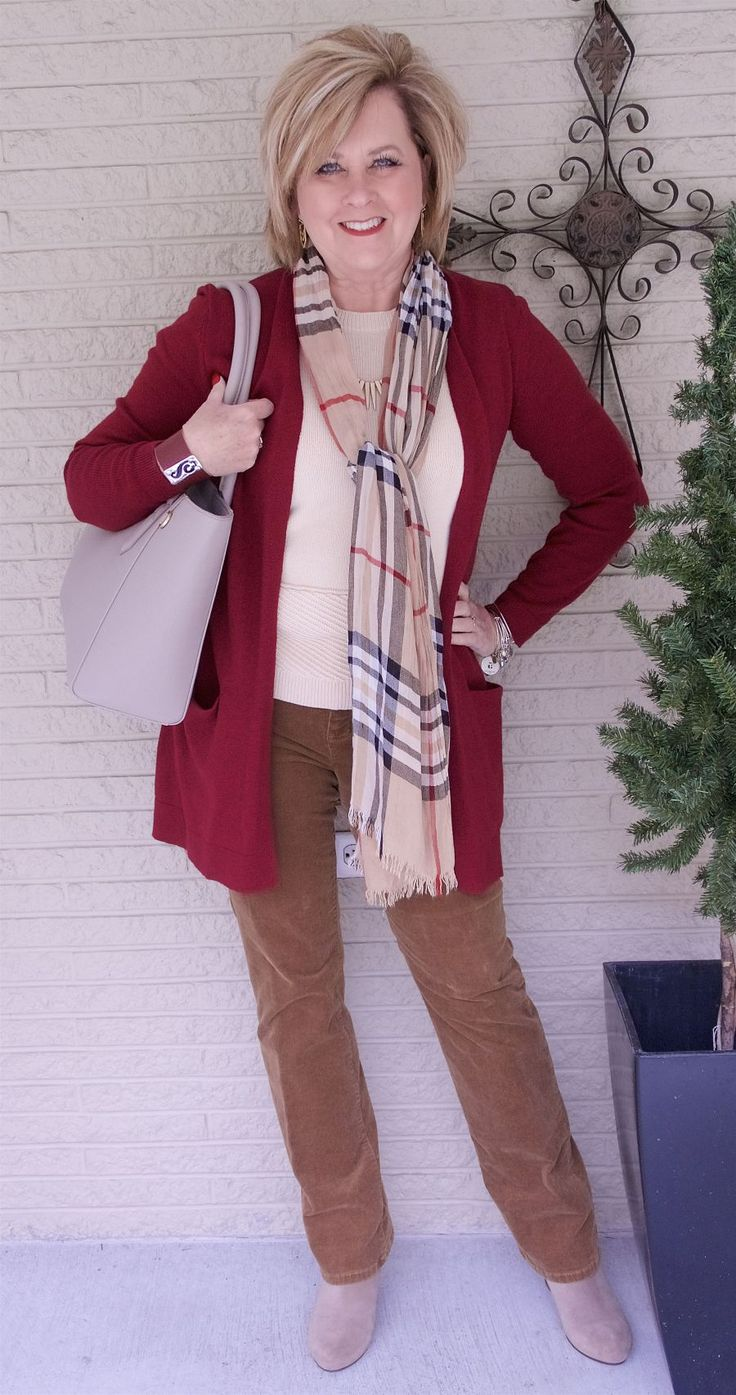 50 IS NOT OLD | WHY YOU SHOULD WEAR A CARDIGAN | Cranberry | Plaid scarf | Burberry print | Fashion over 40 for the everyday woman