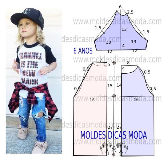 Para concluir o trabalho de forma perfeita faça uma analise detalhada da transformação do molde t-shirt de criança. Esta t-shirt é simples e casual.