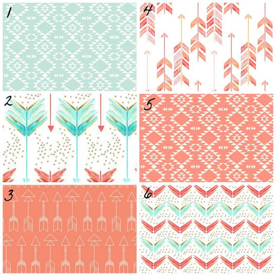 This modern girl tribal bedding set is darling in coral, pink, aqua, and mint. Set 1-- Organic Fitted Sheet, Organic Skirt    Set 2-- Organic