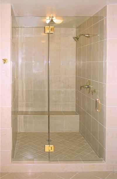 Frameless Shower Enclosure with Brass Hinges | Shower Door ...