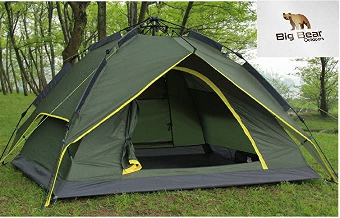 Big Bear Outdoors Camping Tent Automatic Super Fast Folding Pop Up Pop Down Tent With Wind Proof Carbon Fibre Struts And Silve In 2020 Tent Rain Tarp Tent Camping