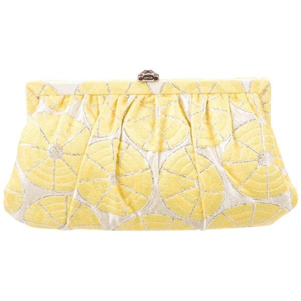 Pre-owned Kotur Brocade Frame Clutch ($125) ❤ liked on Polyvore featuring bags, handbags, clutches, yellow, chain strap purse, colorful clutches, metallic clutches, yellow clutches and zip purse