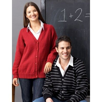 Unisex Adult: Raglan Crew or V-Neck Cardigan - Knitting Patterns - Patterns | Yarnspirations