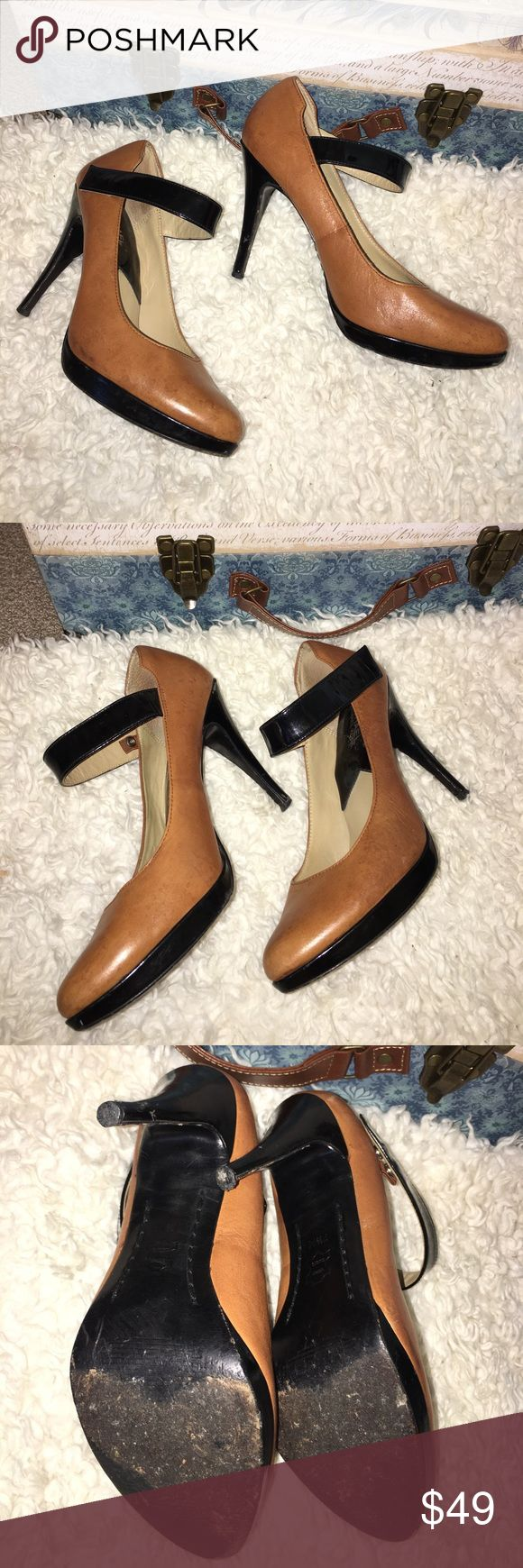 Michael Kors heels 7.5 One of my favorites ever! Only worn a couple of times. True size 7.5 just a little to snug for me but doable. Michael Kors Shoes Heels