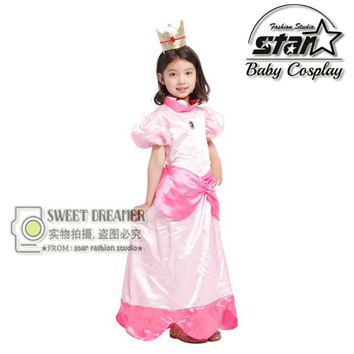 >> Click to Buy << Halloween Costume Super Mario Princess Daisy Maxi Dress Peach Princess Cosplay Ball Gown Children Girls Birthday Gift #Affiliate