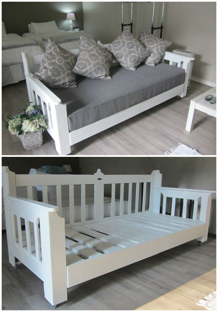I love this!! Just bought Mckennas new bed To bad I didn't see this before lol Day bed for our guest house made with recycled wood pallets.