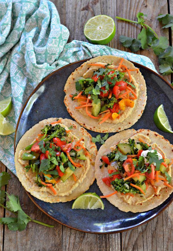 Veggie Hummus Tacos   mountainmamacooks.com #TacoTuesday