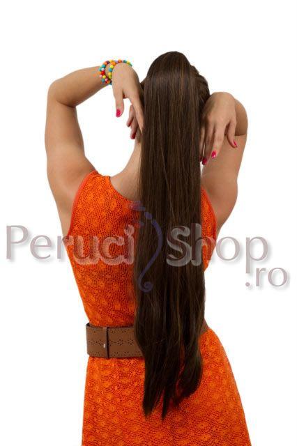 magazin peruci | Coada sintetica lunga Glam- 4/27 Saten cu suvite blond inchis