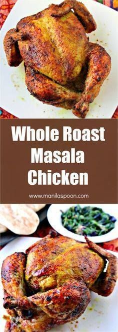 Flavored with aromat Flavored with aromatic spices this whole...  Flavored with aromat Flavored with aromatic spices this whole roast Masala Chicken (Indian-style) comes out so yummy! The skin is deliciously crisp and the meat is tender and moist. This roast is very easy and quick to prepare too. | manilaspoon.com Recipe : http://ift.tt/1hGiZgA And @ItsNutella  http://ift.tt/2v8iUYW