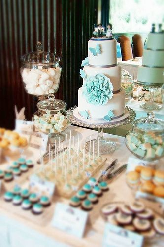 Turquoise and white sweets table.