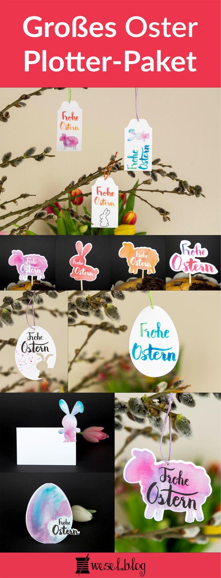 Plottermotive, Plotterdateien für Ostern. Enthalten sind Osterhasen, Ostereier, Osterlamm. Mit Cake Topper, Tischkarten, Anhänger, Geschenkanhänger, Aufsteller. Print and Cut mit Aquarell und Handlettering.