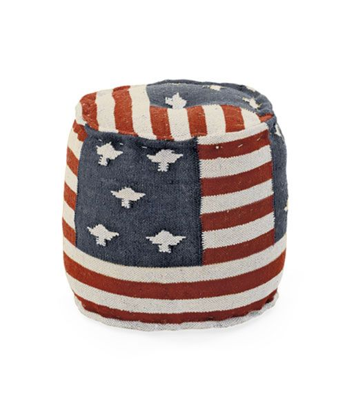 Patriotic Decorations - Red White and Blue Decor - Country Living - Go Home Ltd.'s burlap ottoman rewrites history, substituting eagles for stars.