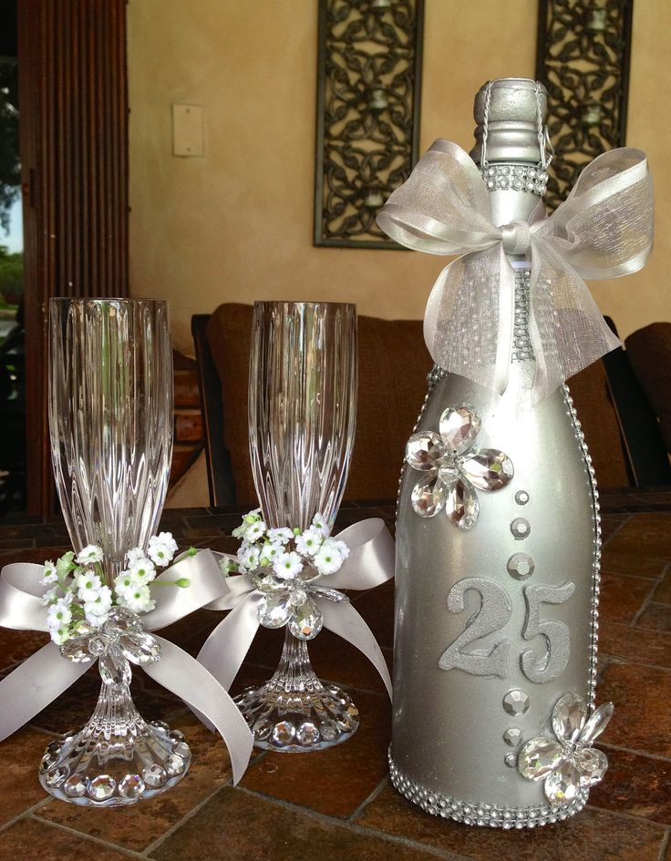 17 best images about silver anniversary on pinterest for Wine bottle ideas for weddings