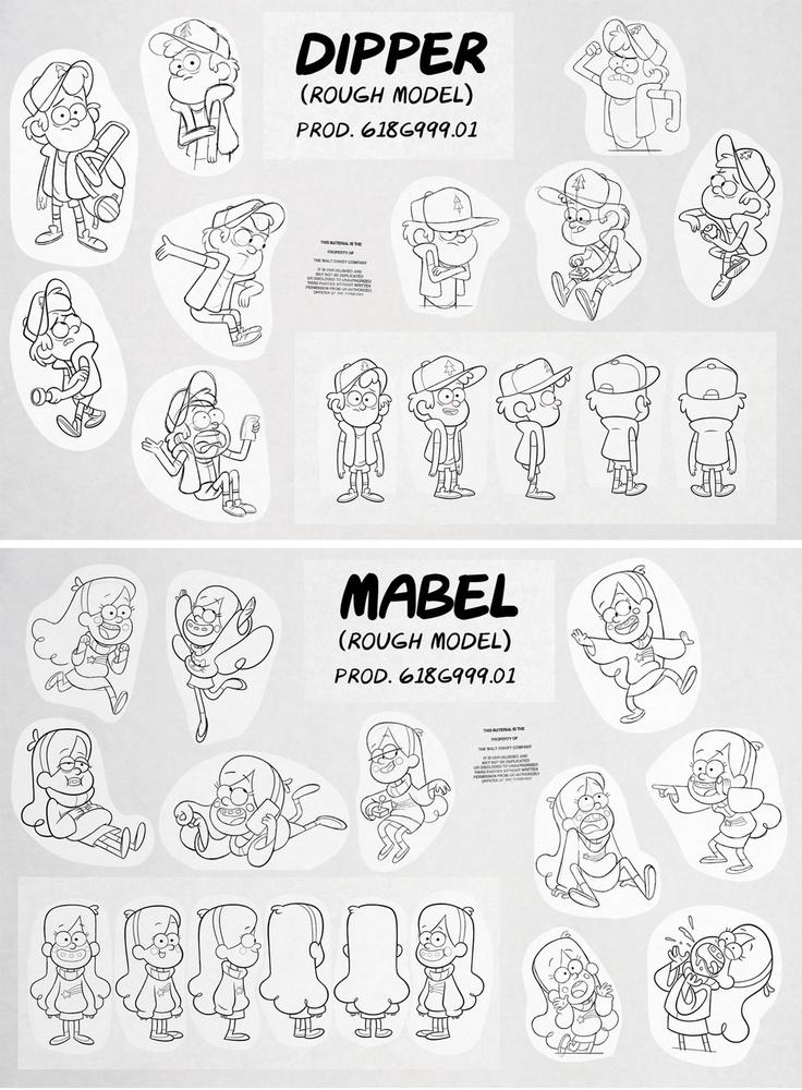 Dipper and Mabel Rough Models