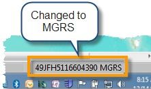 Status bar showing MGRS