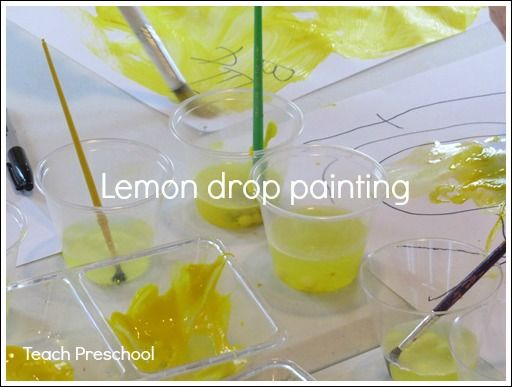 Lemon drop painting by Teach Preschool {So having a Lemonade playdate soon that this will be perfect for}